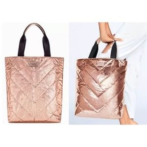 NWT Victoria Secret Rose Gold Quilted Tote